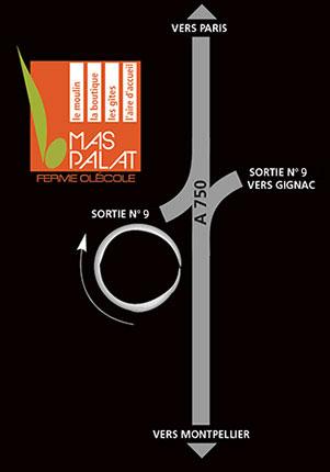 Plan d'accès au moulin à huile et à l'exploitation oléicole du Mas Palat, à Gignac, dans l'Hérault